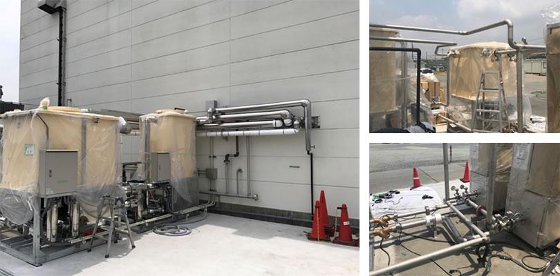 食品工場向けの保温・保冷配管工事実績