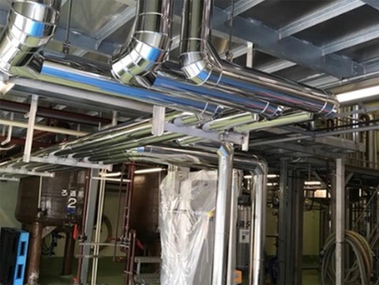 食品工場向け冷却水・温水配管工事実績